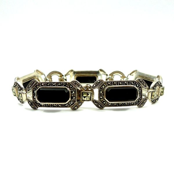 Vintage Onyx and Marcasite Bracelet Image 2 Joint Venture Jewelry Cary, NC