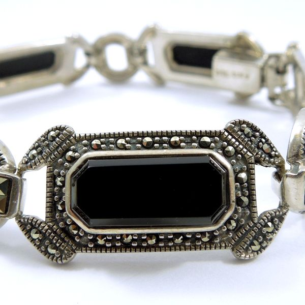 Vintage Onyx and Marcasite Bracelet Image 3 Joint Venture Jewelry Cary, NC