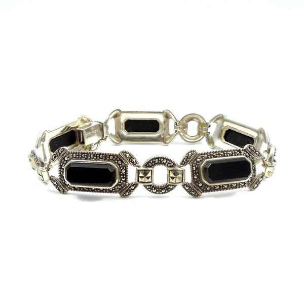 Vintage Onyx and Marcasite Bracelet Joint Venture Jewelry Cary, NC