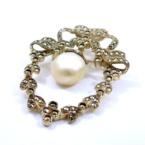 Vintage Marcasite and Pearl Pin Image 2 Joint Venture Jewelry Cary, NC