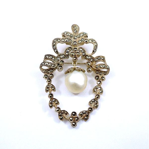 Vintage Marcasite and Pearl Pin Joint Venture Jewelry Cary, NC