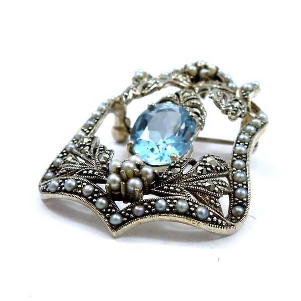 Blue Topaz and Seed Pearl Pendant/Pin Image 2 Joint Venture Jewelry Cary, NC