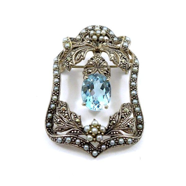 Blue Topaz and Seed Pearl Pendant/Pin Joint Venture Jewelry Cary, NC