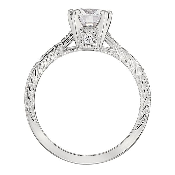 White Gold Semi Mount Engagement Ring with Prong Set Round Diamonds, Milgrain and Engraved Detail Image 3 J. Schrecker Jewelry Hopkinsville, KY