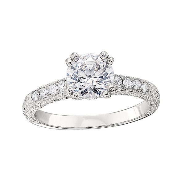White Gold Semi Mount Engagement Ring with Prong Set Round Diamonds, Milgrain and Engraved Detail J. Schrecker Jewelry Hopkinsville, KY