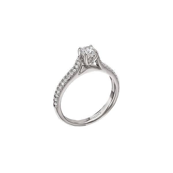 White Gold Bridal Ring Round Center Diamond Round Side Diamonds In