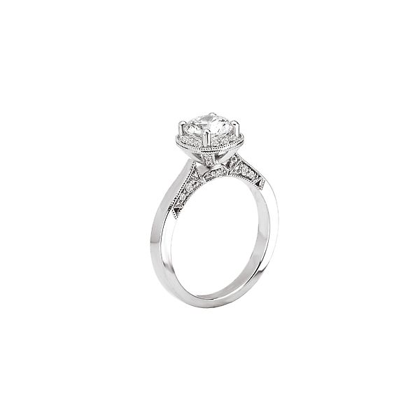 White Gold Milgrain Diamond Semi Mount Bridal Ring with 0.25 Total Carat Weight Image 2 J. Schrecker Jewelry Hopkinsville, KY