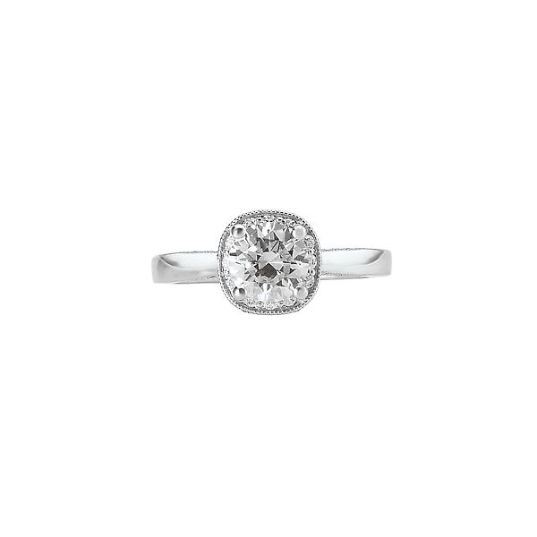 White Gold Milgrain Diamond Semi Mount Bridal Ring with 0.25 Total Carat Weight Image 3 J. Schrecker Jewelry Hopkinsville, KY
