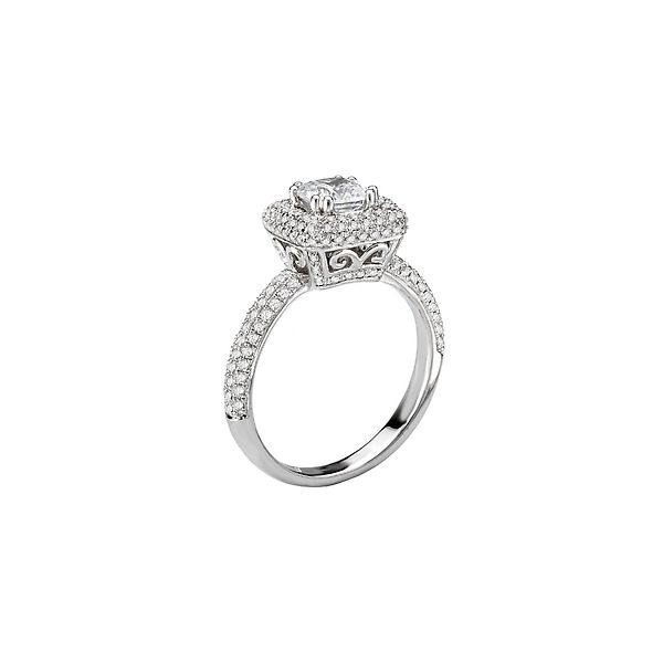 White Gold Cushion Shaped Bridal Semi Mount with Micro Pave Set Round Diamonds, 0.51 Carats Total Weight Image 2 J. Schrecker Jewelry Hopkinsville, KY