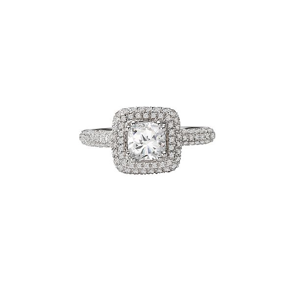 White Gold Cushion Shaped Bridal Semi Mount with Micro Pave Set Round Diamonds, 0.51 Carats Total Weight Image 3 J. Schrecker Jewelry Hopkinsville, KY