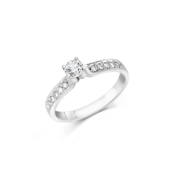 White Gold Bridal Ring with Round Diamond Center J. Schrecker Jewelry Hopkinsville, KY
