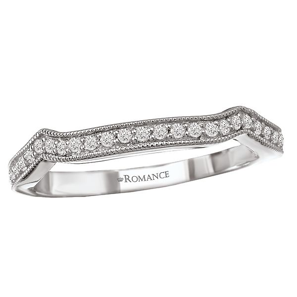 White Gold  Curved Fitted Wedding Band with Prong Set Round Diamonds and Milgrain Detail J. Schrecker Jewelry Hopkinsville, KY