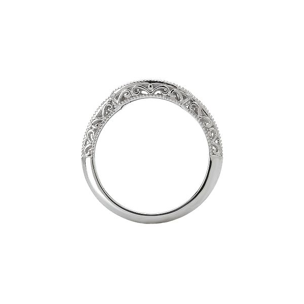 White Gold Fitted Curved Diamond Wedding Band with Scroll and Milgrain Detail Image 2 J. Schrecker Jewelry Hopkinsville, KY