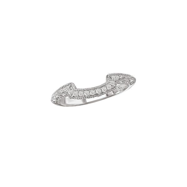 White Gold Fitted Curved Diamond Wedding Band with Scroll and Milgrain Detail J. Schrecker Jewelry Hopkinsville, KY