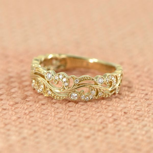 14 Karat Yellow Gold Stackable Band with Round Diamonds in Open Scroll Design, 0.15 Carats Total Weight Image 2 J. Schrecker Jewelry Hopkinsville, KY