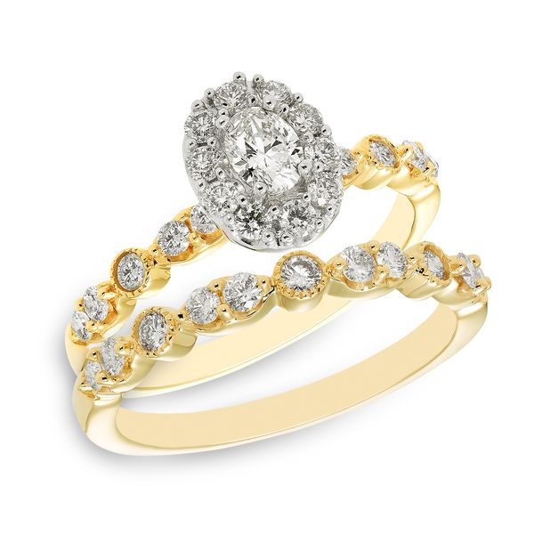 Yellow Gold Oval Diamond Engagement Ring with Halo Image 2 J. Schrecker Jewelry Hopkinsville, KY