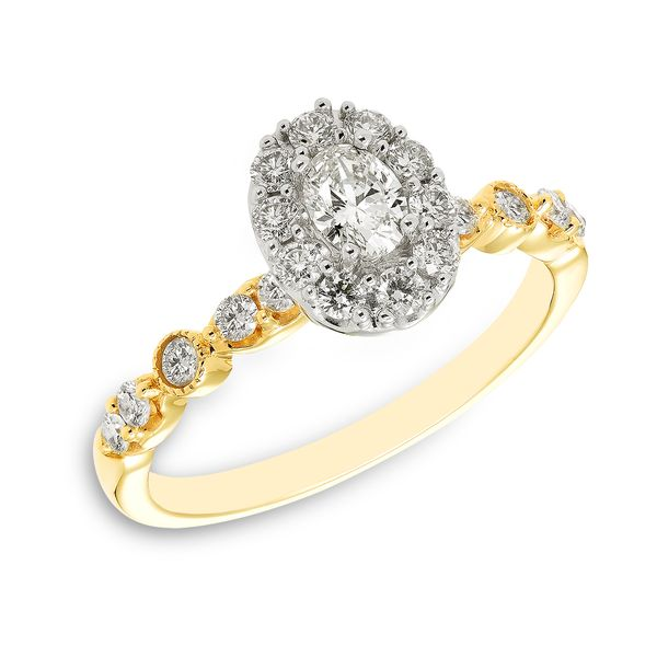 Yellow Gold Oval Diamond Engagement Ring with Halo J. Schrecker Jewelry Hopkinsville, KY