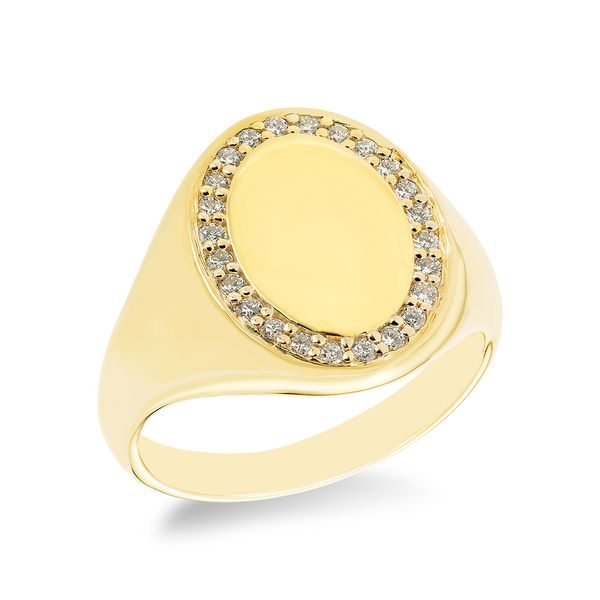 Yellow Gold Oval Signet Ring with a Halo of Diamonds J. Schrecker Jewelry Hopkinsville, KY