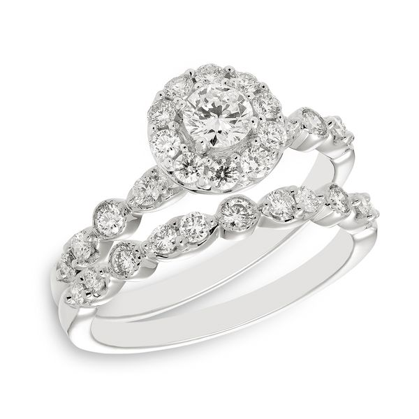 White Gold Round Diamond Engagement Ring with Round Diamond Halo Image 2 J. Schrecker Jewelry Hopkinsville, KY