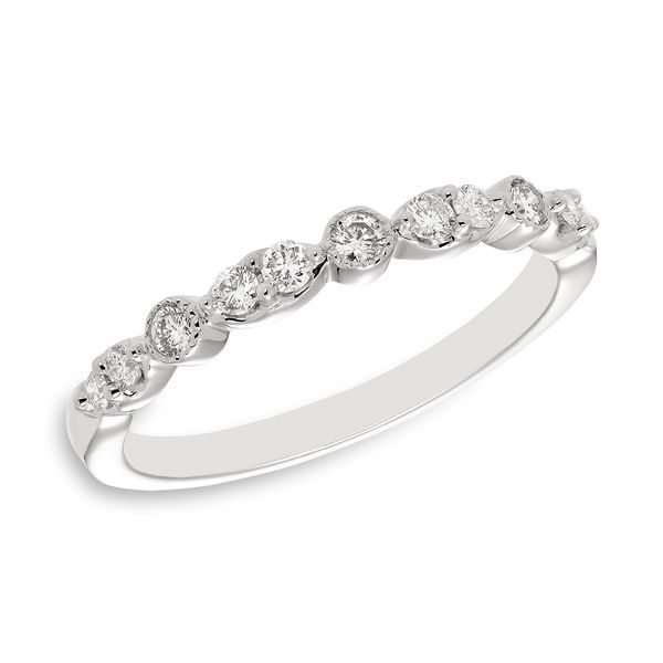 14 Karat White Gold Diamond Band with Prong Set Round Diamonds with Milgrain Detail J. Schrecker Jewelry Hopkinsville, KY
