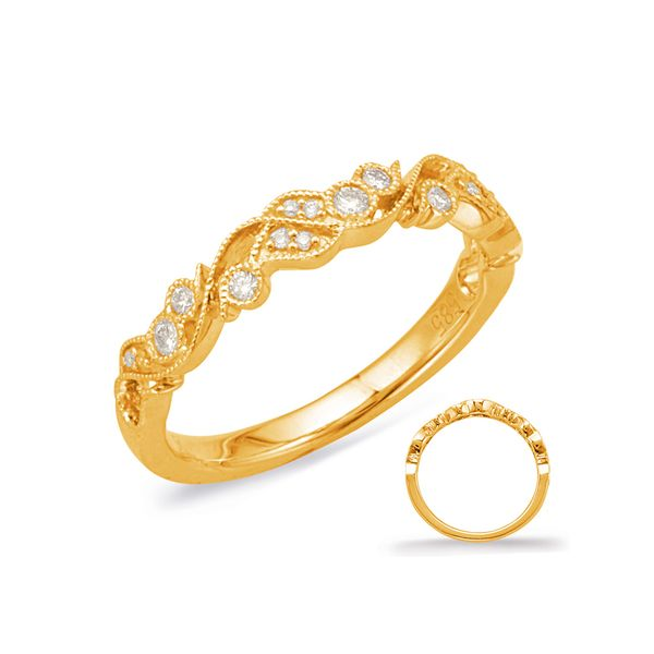 Yellow Gold Vine & Leaf Design Band with Bezel-Set Round Diamonds J. Schrecker Jewelry Hopkinsville, KY