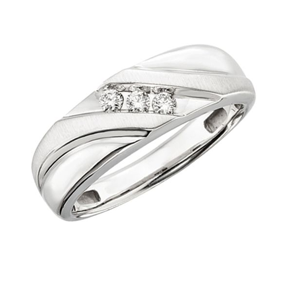 Man's White Gold Polished and Satin Finish Diamond Band with Three Channel Set Diamonds J. Schrecker Jewelry Hopkinsville, KY