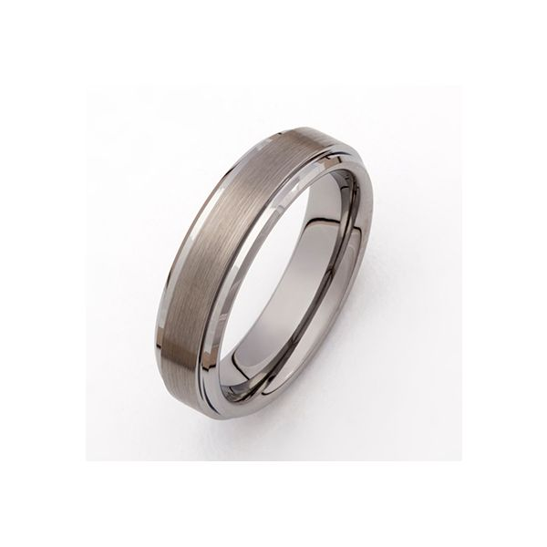 7 Millimeter Tungsten Carbide Brushed Wedding Band with Polished Edge J. Schrecker Jewelry Hopkinsville, KY