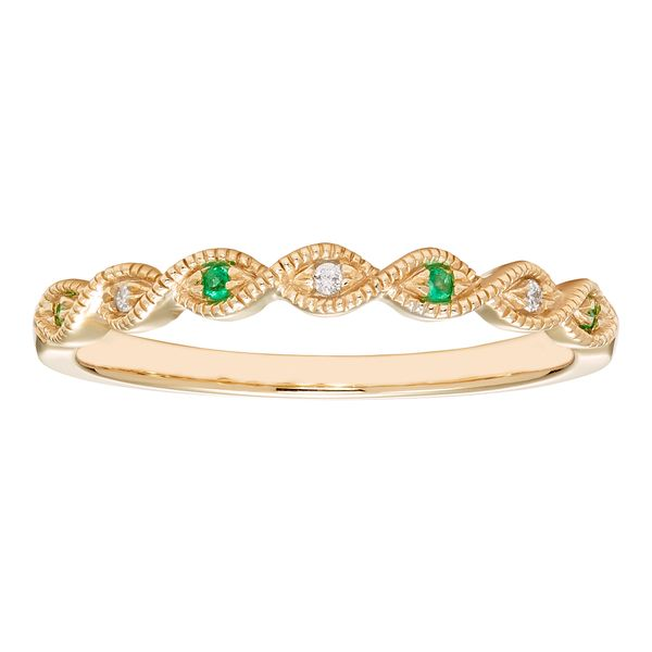 Emerald and Diamond Band in Yellow Gold J. Schrecker Jewelry Hopkinsville, KY