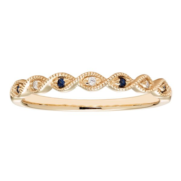 Sapphire and Diamond Band in Yellow Gold J. Schrecker Jewelry Hopkinsville, KY
