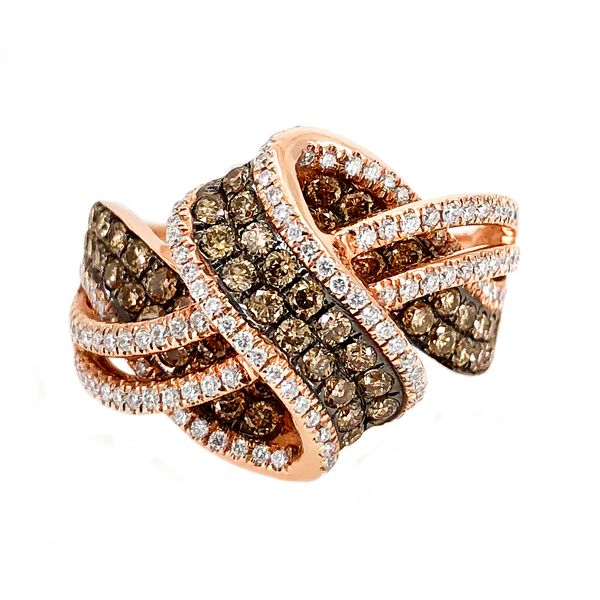 LeVian Chocolatier Ring with Ribbons Chocolate Diamonds & Vanilla Diamonds in 14 Karat Strawberry Gold J. Schrecker Jewelry Hopkinsville, KY
