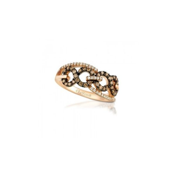 LeVian Chocolatier Ring with Infinity Link Design Chocolate & Vanilla Diamonds in Strawberry Gold J. Schrecker Jewelry Hopkinsville, KY