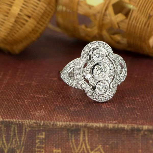 White Gold Diamond Fashion Ring in an Antique Inspired Style with Milgrain Beaded Detail Image 2 J. Schrecker Jewelry Hopkinsville, KY