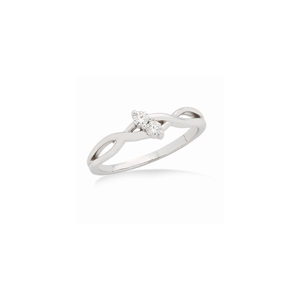 Petite White Gold Two Diamond Ring with Twist Design J. Schrecker Jewelry Hopkinsville, KY