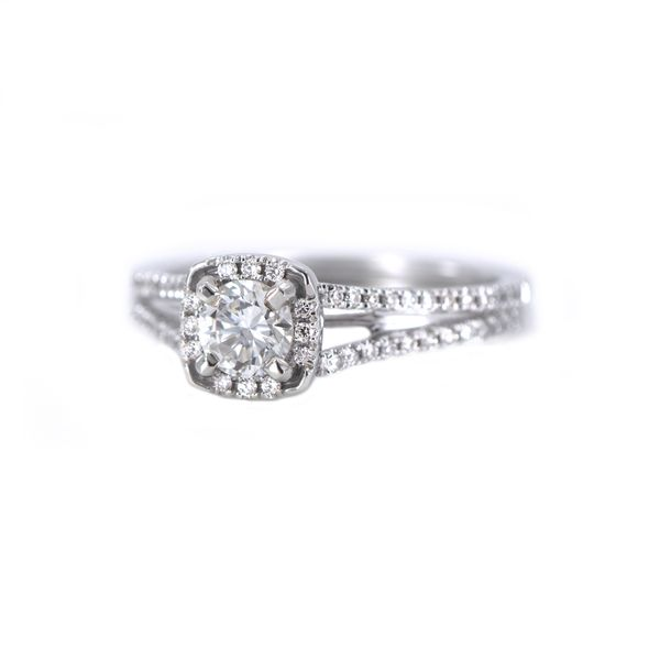 Romance Bridal White Gold Engagement Ring with Round Diamond and Halo J. Schrecker Jewelry Hopkinsville, KY