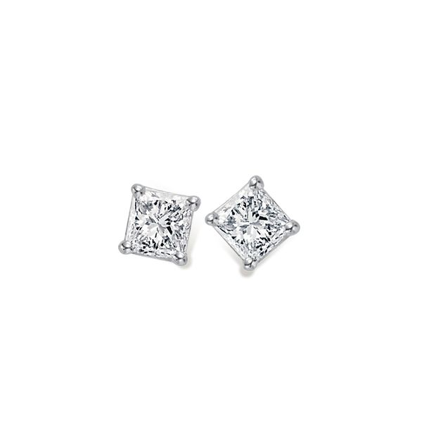 White Gold Four Prong Stud Earrings with Two Princess Cut Diamonds, 0.50 Carats Total Weight J. Schrecker Jewelry Hopkinsville, KY