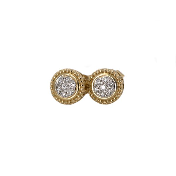 Yellow Gold Diamond Cluster Earrings with Milgrain and Filigree Halo Detail Image 3 J. Schrecker Jewelry Hopkinsville, KY