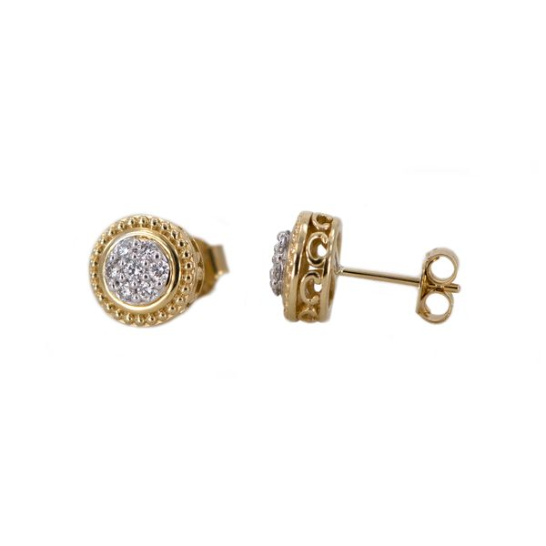 Yellow Gold Diamond Cluster Earrings with Milgrain and Filigree Halo Detail J. Schrecker Jewelry Hopkinsville, KY