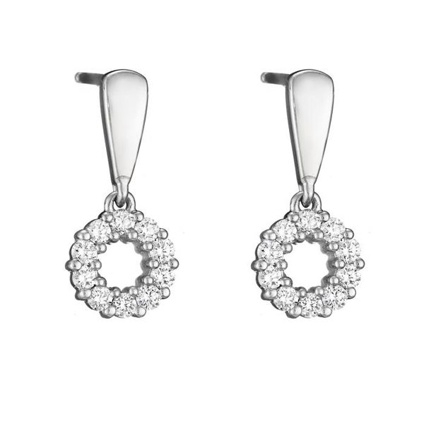 14 Karat White Gold Round Diamond Circle Drop Earrings J. Schrecker Jewelry Hopkinsville, KY