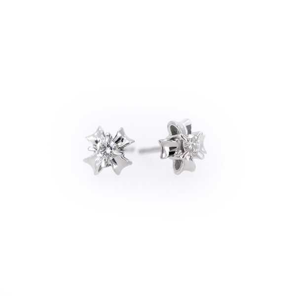 White Gold Fluted Diamond Stud Earrings J. Schrecker Jewelry Hopkinsville, KY