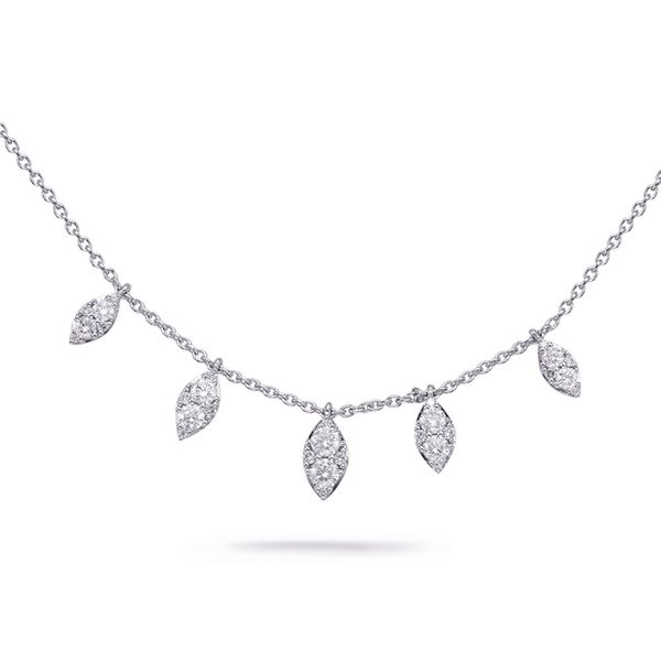 Diamond Necklace with Navette Shaped Drops J. Schrecker Jewelry Hopkinsville, KY