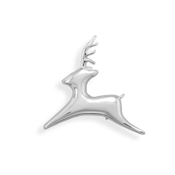 Flying Reindeer Fashion Pin in Polished Silver Plated Finish J. Schrecker Jewelry Hopkinsville, KY