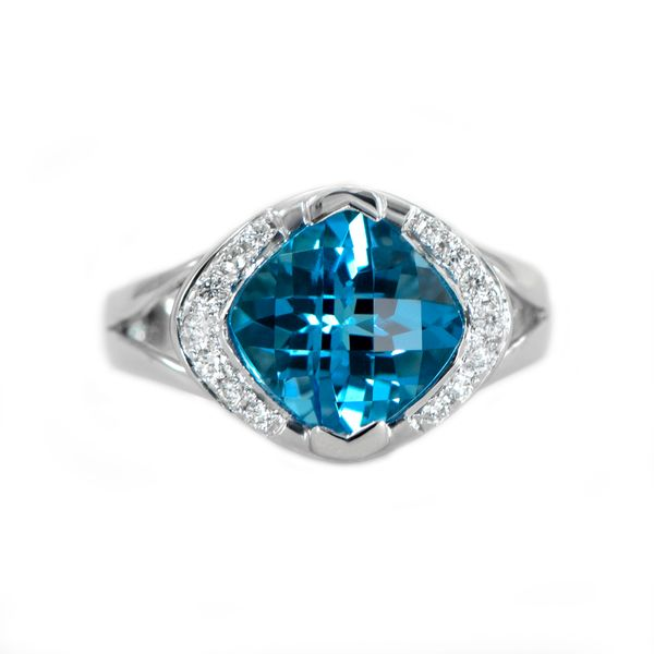 Swiss Blue Topaz Ring with Diamonds in White Gold J. Schrecker Jewelry Hopkinsville, KY