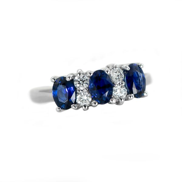Sapphire and Diamond Band Style Ring in White Gold J. Schrecker Jewelry Hopkinsville, KY