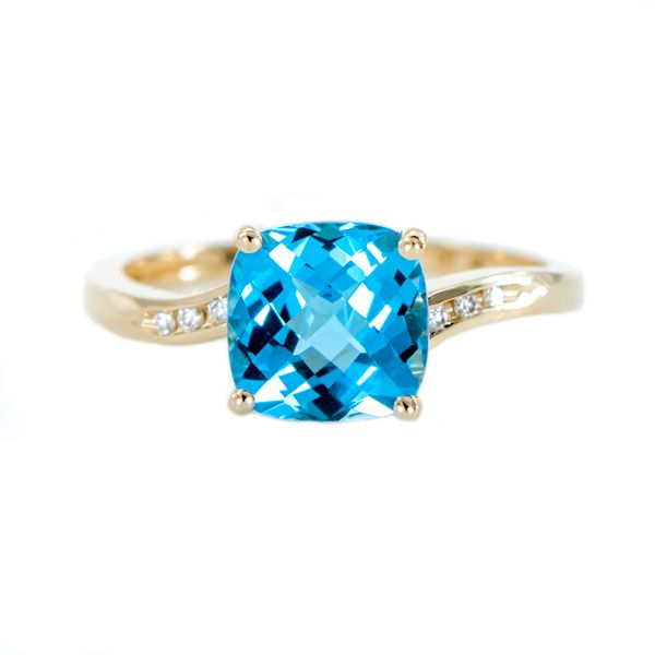 Yellow Gold Cushion Cut Swiss Blue Topaz with Checkerboard Top and Channel Set Round Diamonds J. Schrecker Jewelry Hopkinsville, KY