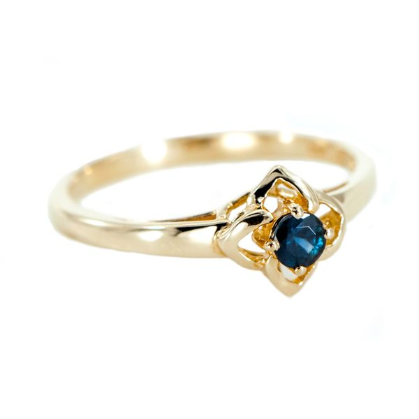 Yellow Gold Four Petal Floral Design Ring with Round Faceted Blue Sapphire J. Schrecker Jewelry Hopkinsville, KY