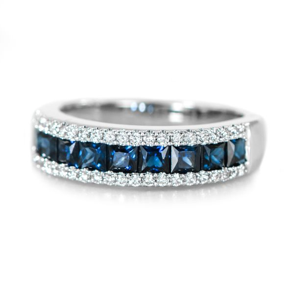 White Gold Ring with Square Cut Blue Sapphires and Round Diamonds J. Schrecker Jewelry Hopkinsville, KY