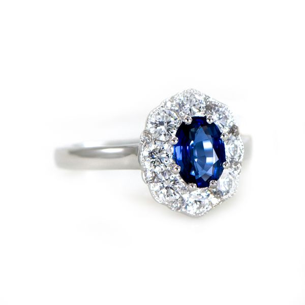 Sapphire and Diamond Ring in White Gold J. Schrecker Jewelry Hopkinsville, KY
