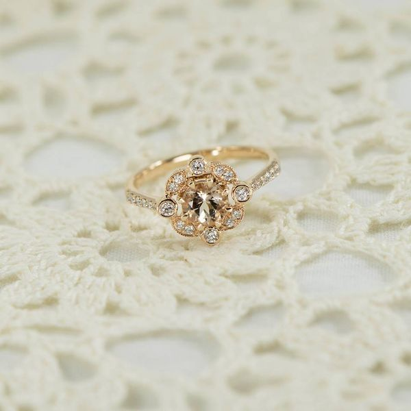 Rose Gold Lady's Ring with Round Morganite and Round Accent Diamonds Image 2 J. Schrecker Jewelry Hopkinsville, KY