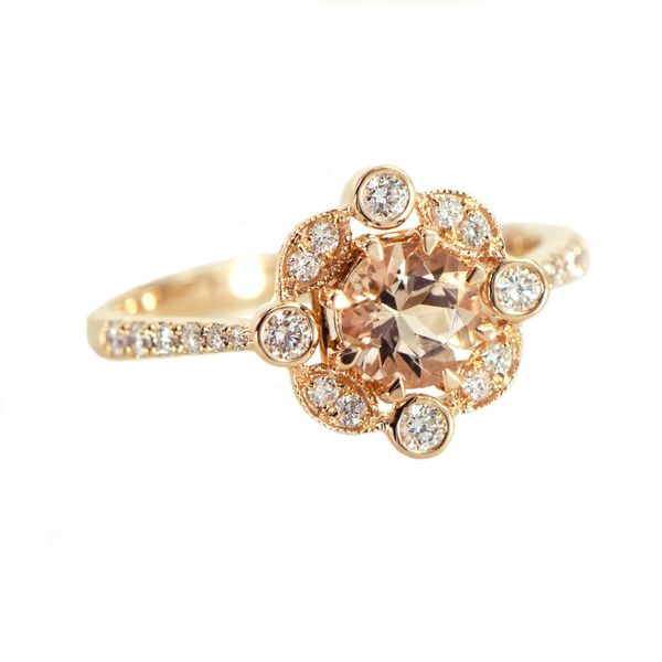 Rose Gold Lady's Ring with Round Morganite and Round Accent Diamonds J. Schrecker Jewelry Hopkinsville, KY