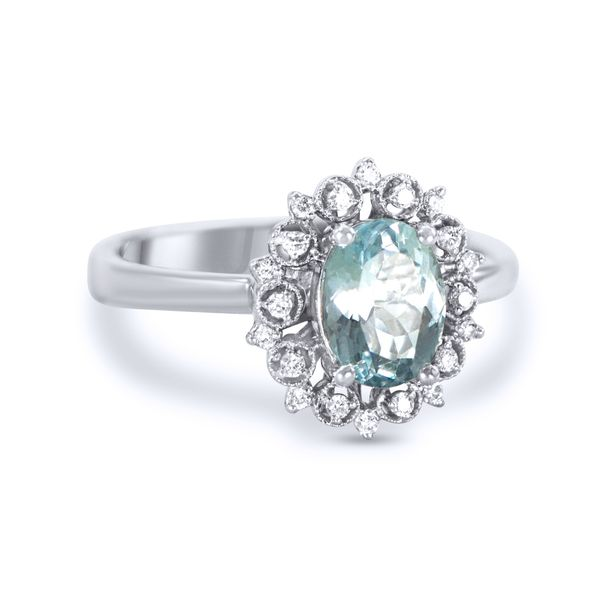 White Gold Oval Aquamarine Ring with a Scroll Design Halo of Round Diamonds J. Schrecker Jewelry Hopkinsville, KY
